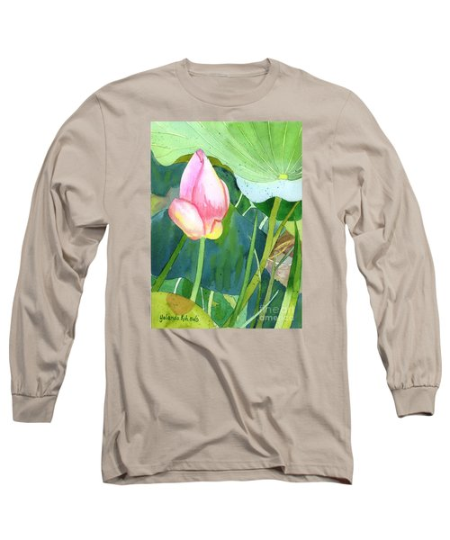 Long Sleeve T-Shirt featuring the painting Pink Lotus by Yolanda Koh