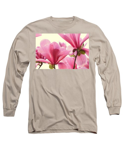 Pink Magnolias Long Sleeve T-Shirt by Peggy Collins
