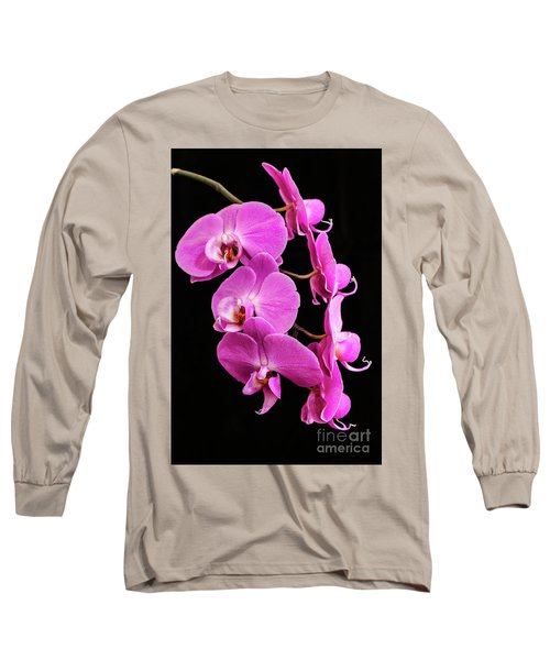 Pink Orchid With Black Background Long Sleeve T-Shirt