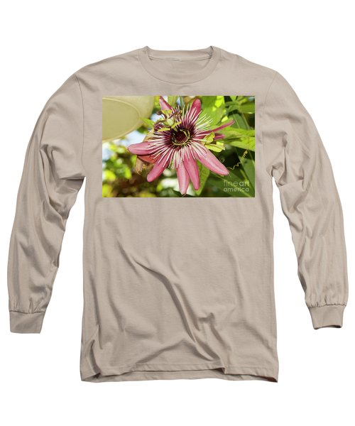 Pink Passiflora Long Sleeve T-Shirt by Elvira Ladocki