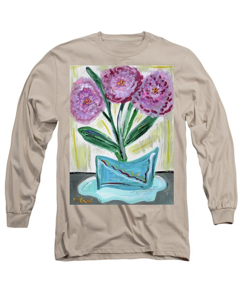 Pink Peonies-gray Table Long Sleeve T-Shirt