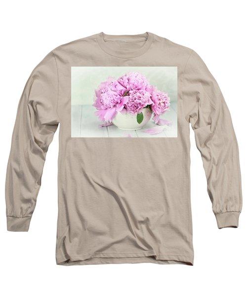 Pink Peonies Long Sleeve T-Shirt by Stephanie Frey