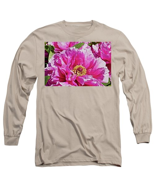 Pink Peony Long Sleeve T-Shirt by Joan Reese
