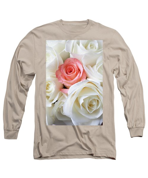 Pink Rose Among White Roses Long Sleeve T-Shirt
