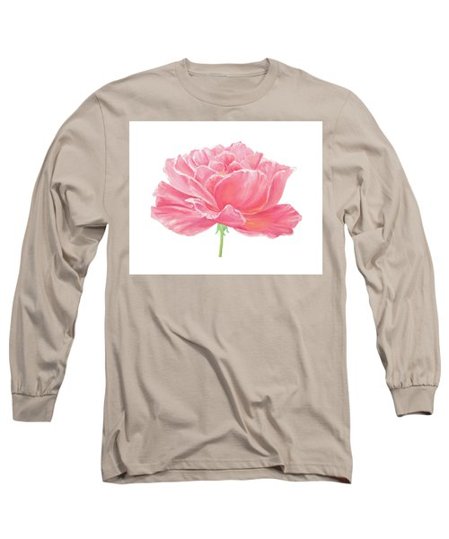 Long Sleeve T-Shirt featuring the painting Pink Rose by Elizabeth Lock