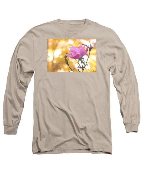 Long Sleeve T-Shirt featuring the photograph Pink Rose In The Light Of Fall by Trina  Ansel