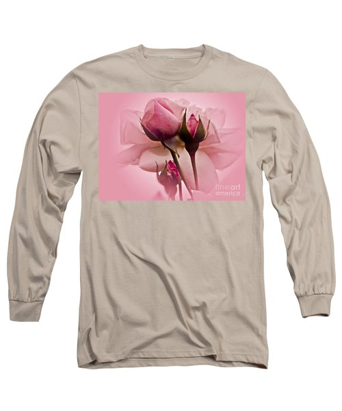 Roses In Pink Mist Long Sleeve T-Shirt by Carol F Austin