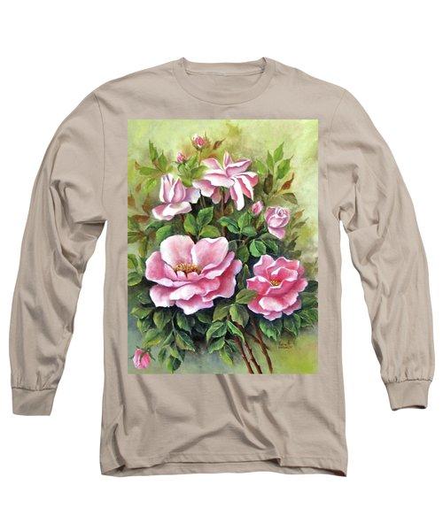 Pink Roses Long Sleeve T-Shirt by Katia Aho