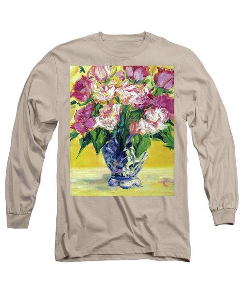 Pink Roses In Blue Deft Vase Long Sleeve T-Shirt