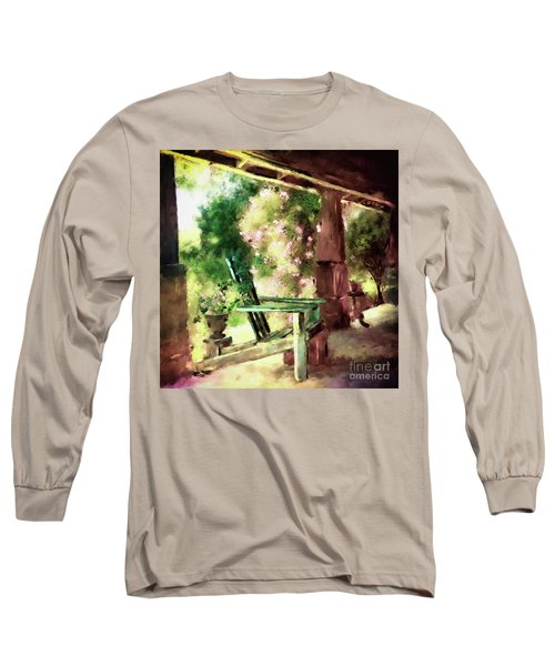 Long Sleeve T-Shirt featuring the digital art Pink Roses On The Porch by Lois Bryan