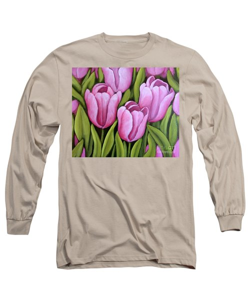 Pink Spring Tulips Long Sleeve T-Shirt