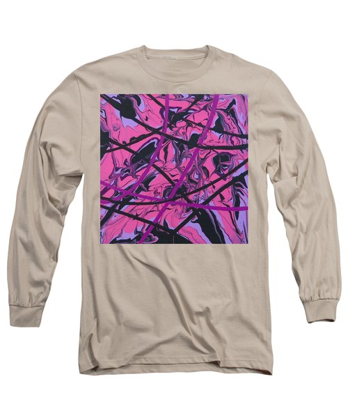 Pink Swirl Long Sleeve T-Shirt by Teresa Wing