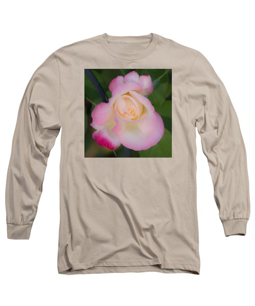 Pink Tinged Rose Long Sleeve T-Shirt by Cathy Donohoue