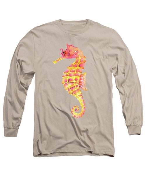 Pink Yellow Seahorse - Square Long Sleeve T-Shirt by Amy Kirkpatrick