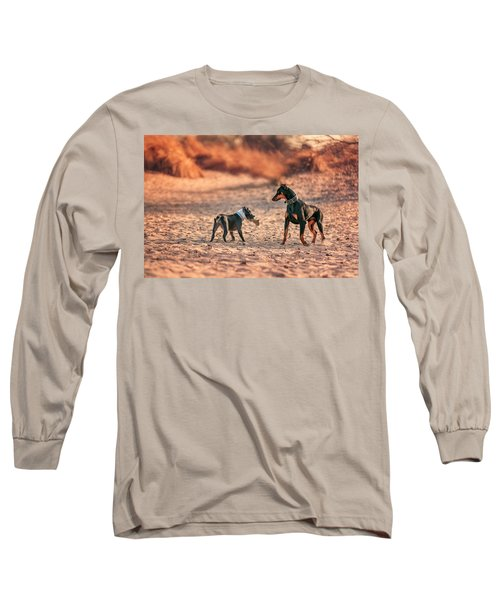 Long Sleeve T-Shirt featuring the photograph Pitbull And Doberman by Peter Lakomy