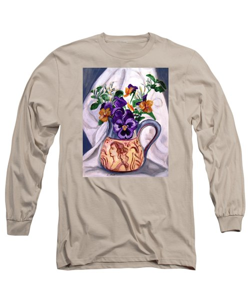 Long Sleeve T-Shirt featuring the painting Pitcher Of Pansies by Laura Aceto
