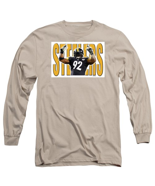 Long Sleeve T-Shirt featuring the digital art Pittsburgh Steelers by Stephen Younts