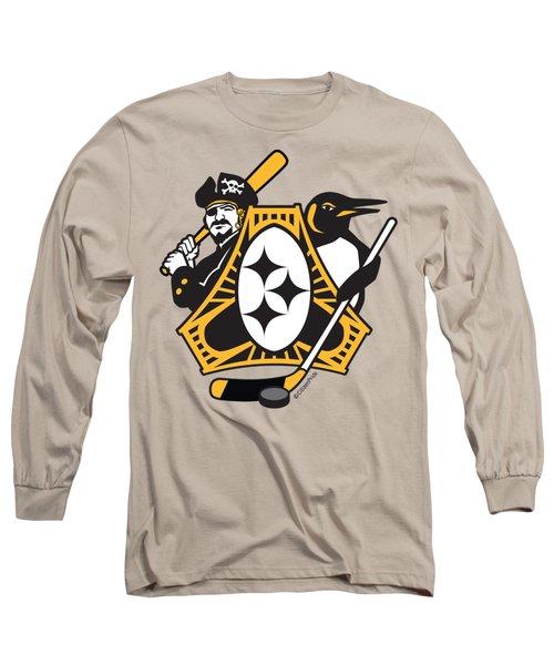 Pittsburgh-three Rivers Roar Sports Fan Crest Long Sleeve T-Shirt