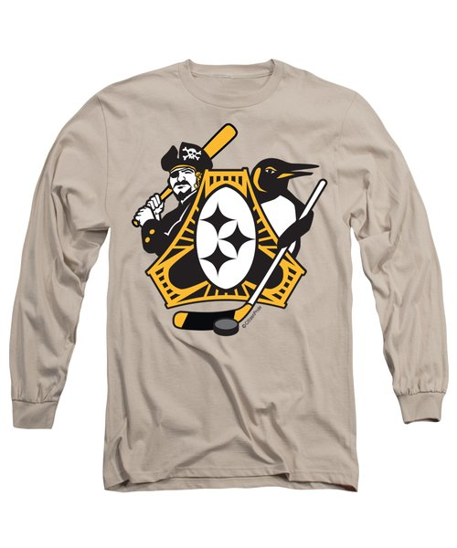 Pittsburgh-three Rivers Roar Sports Fan Crest Long Sleeve T-Shirt