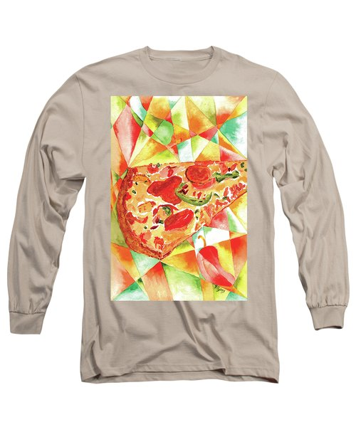 Long Sleeve T-Shirt featuring the painting Pizza Pizza by Paula Ayers