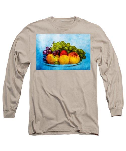 Long Sleeve T-Shirt featuring the photograph Plate Of Fresh Fruits by Alexander Senin