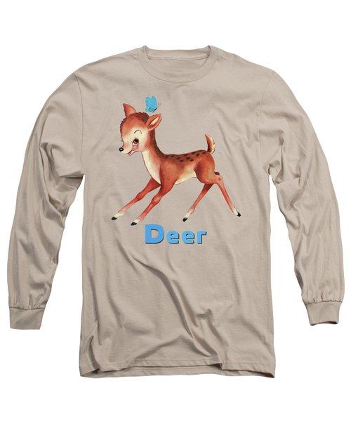 Playful Baby Deer Pattern Long Sleeve T-Shirt