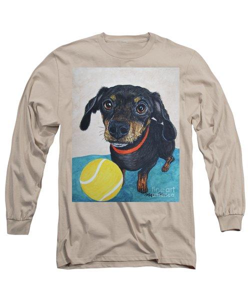 Playful Dachshund Long Sleeve T-Shirt by Megan Cohen