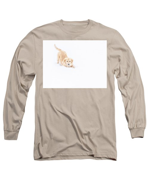 Playful Puppy In So Much Snow Long Sleeve T-Shirt
