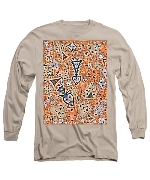 Playing Card Symbols With Faces In Rust Long Sleeve T-Shirt