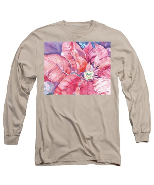 Poinsettia Glory Long Sleeve T-Shirt by Mary Haley-Rocks