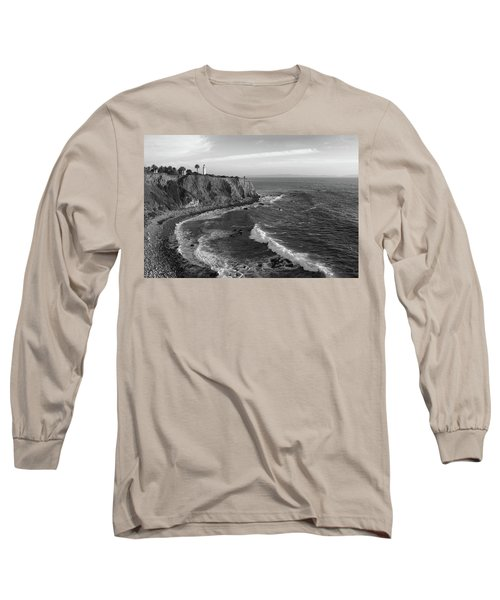 Point Vicente Lighthouse Palos Verdes California - Black And White Long Sleeve T-Shirt