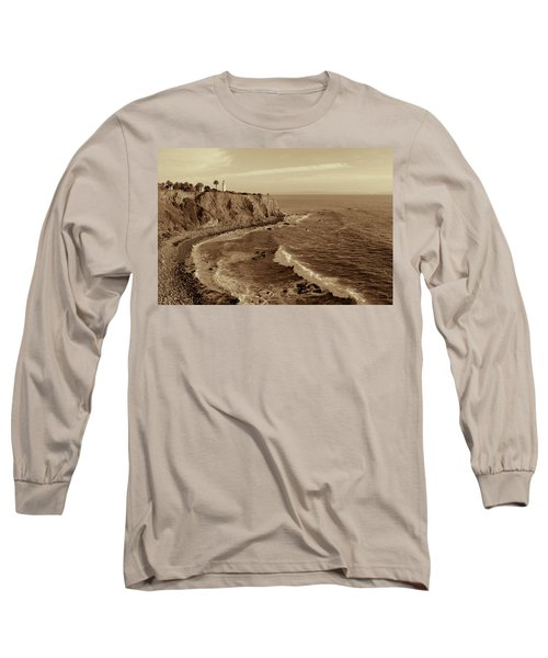 Point Vicente Lighthouse Palos Verdes California - Sepia Rendition Long Sleeve T-Shirt