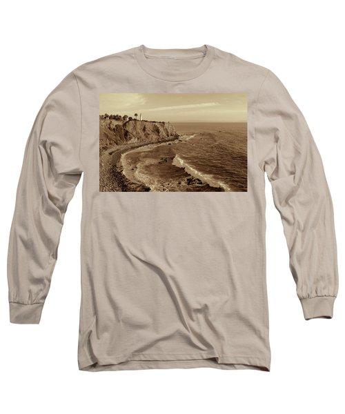Point Vicente Lighthouse Palos Verdes California - Sepia Rendition Long Sleeve T-Shirt