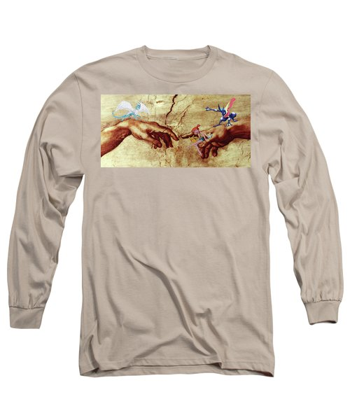 Long Sleeve T-Shirt featuring the digital art Pokeangelo Sistine Chapel by Greg Sharpe