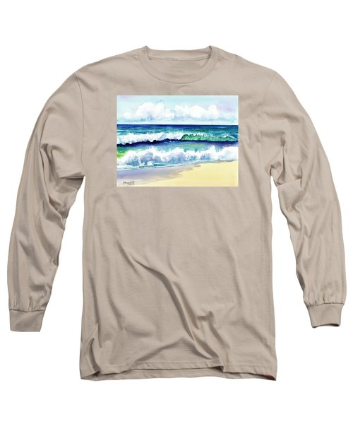 Long Sleeve T-Shirt featuring the painting Polhale Waves 3 by Marionette Taboniar