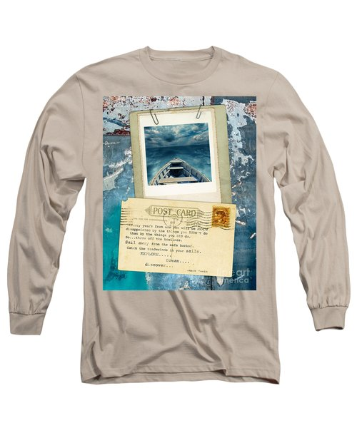 Poloroid Of Boat With Inspirational Quote Long Sleeve T-Shirt