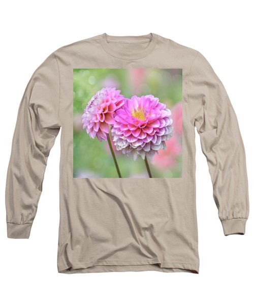 Long Sleeve T-Shirt featuring the photograph Pompon Dahlias by John Poon