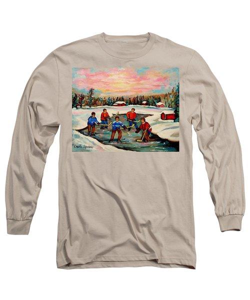Pond Hockey Countryscene Long Sleeve T-Shirt