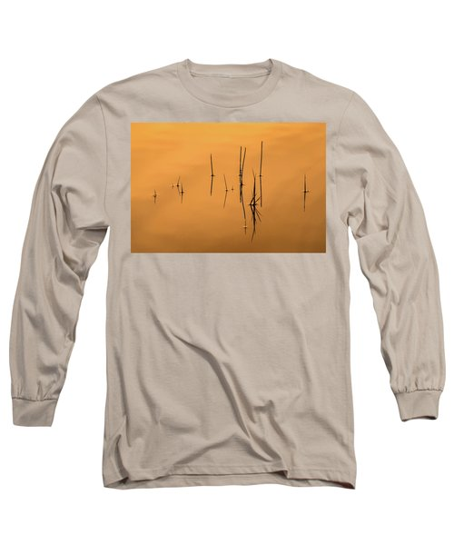 Pond Reeds In Reflected Sunrise Long Sleeve T-Shirt