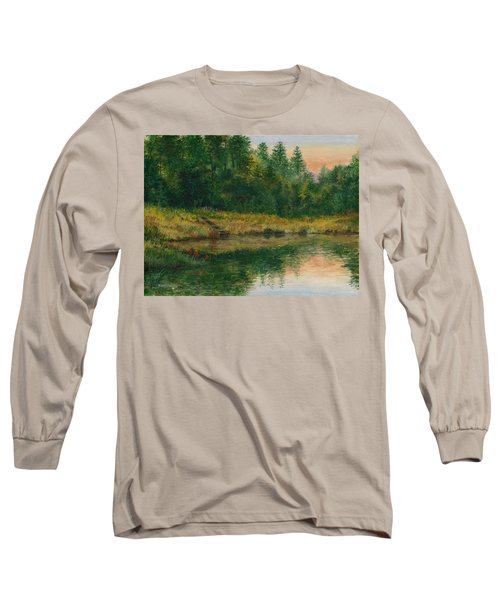 Pond With Spider Lilies Long Sleeve T-Shirt