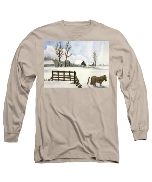 Long Sleeve T-Shirt featuring the painting Pony In The Snow by Annemeet Hasidi- van der Leij