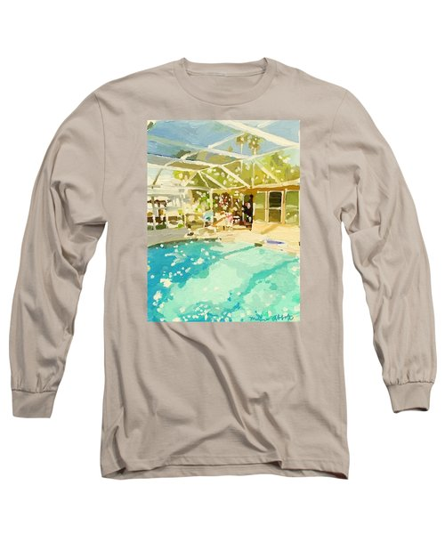 Pool And Screened Pool House Long Sleeve T-Shirt