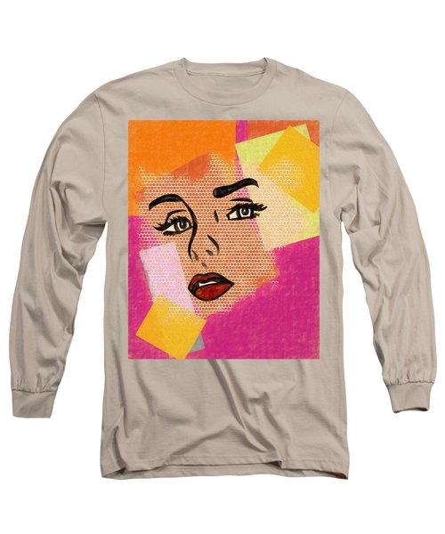 Long Sleeve T-Shirt featuring the mixed media Pop Art Comic Woman by Dan Sproul