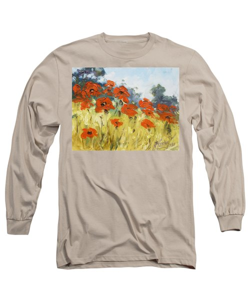 Poppies 3 Long Sleeve T-Shirt by Irek Szelag
