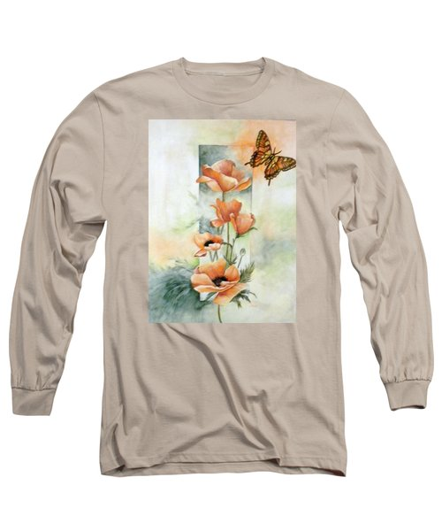 Poppies And Butterfly Long Sleeve T-Shirt by Marti Idlet