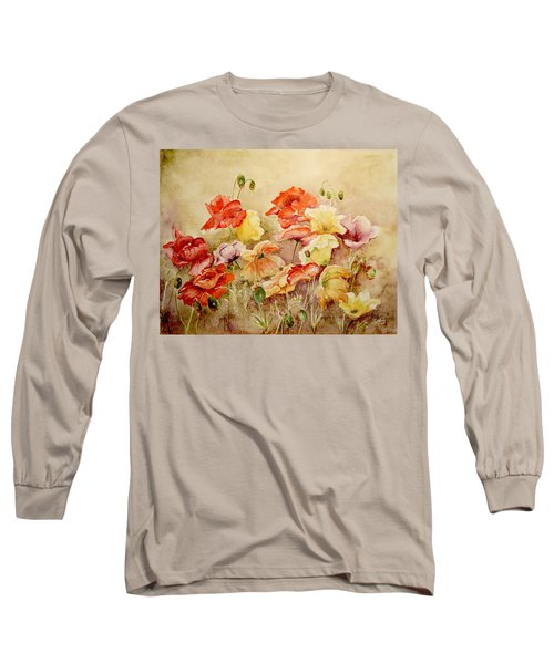 Poppies Long Sleeve T-Shirt by Marilyn Zalatan