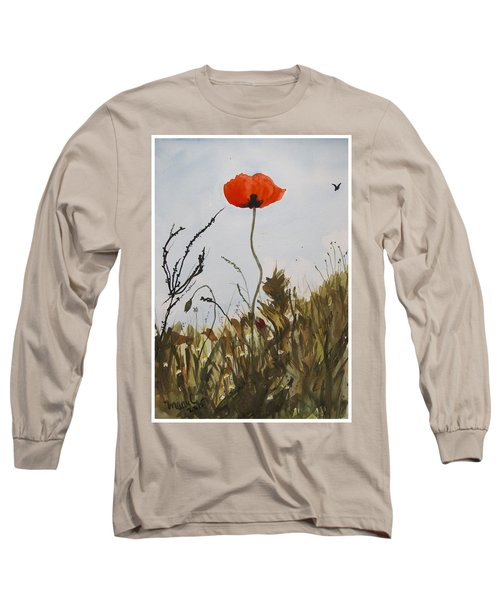 Poppy On The Field Long Sleeve T-Shirt by Manuela Constantin