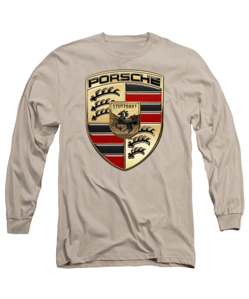 Porsche - 3d Badge On Yellow Long Sleeve T-Shirt by Serge Averbukh