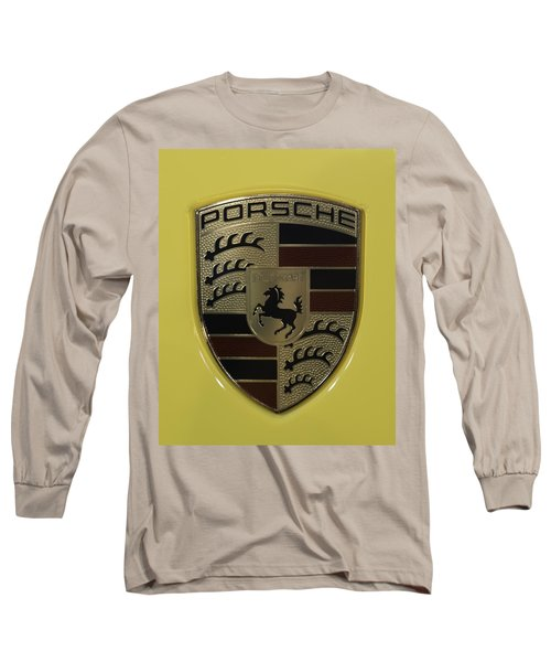 Porsche Emblem On Racing Yellow Long Sleeve T-Shirt by Sebastian Musial