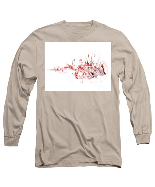 Port - Mixed Media Abstract Painting  Long Sleeve T-Shirt by Modern Art Prints